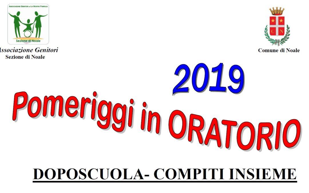 Pomeriggi in oratorio: compiti insieme dal 24 giugno al 22 luglio 2019